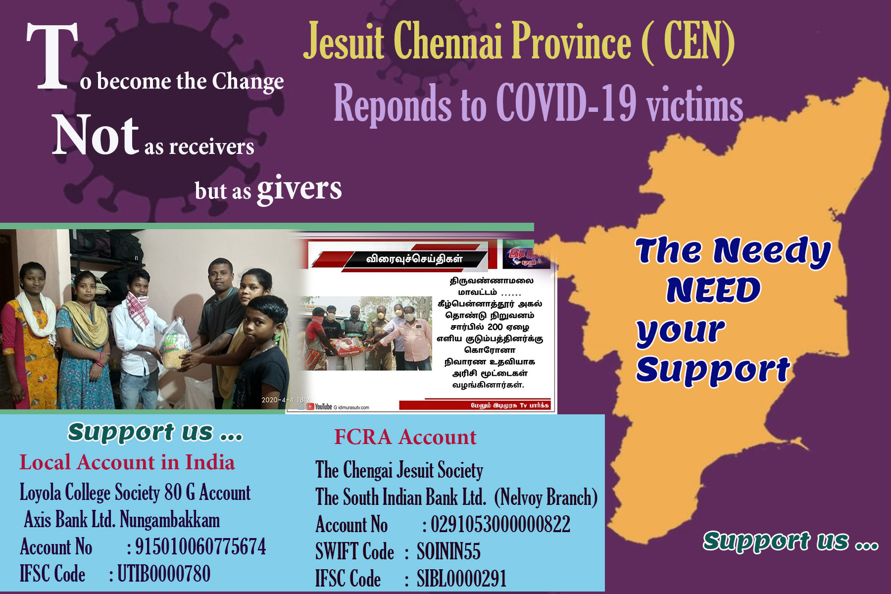 Jesuit Chennai Province (CEN) Responds to COVID-19 victims